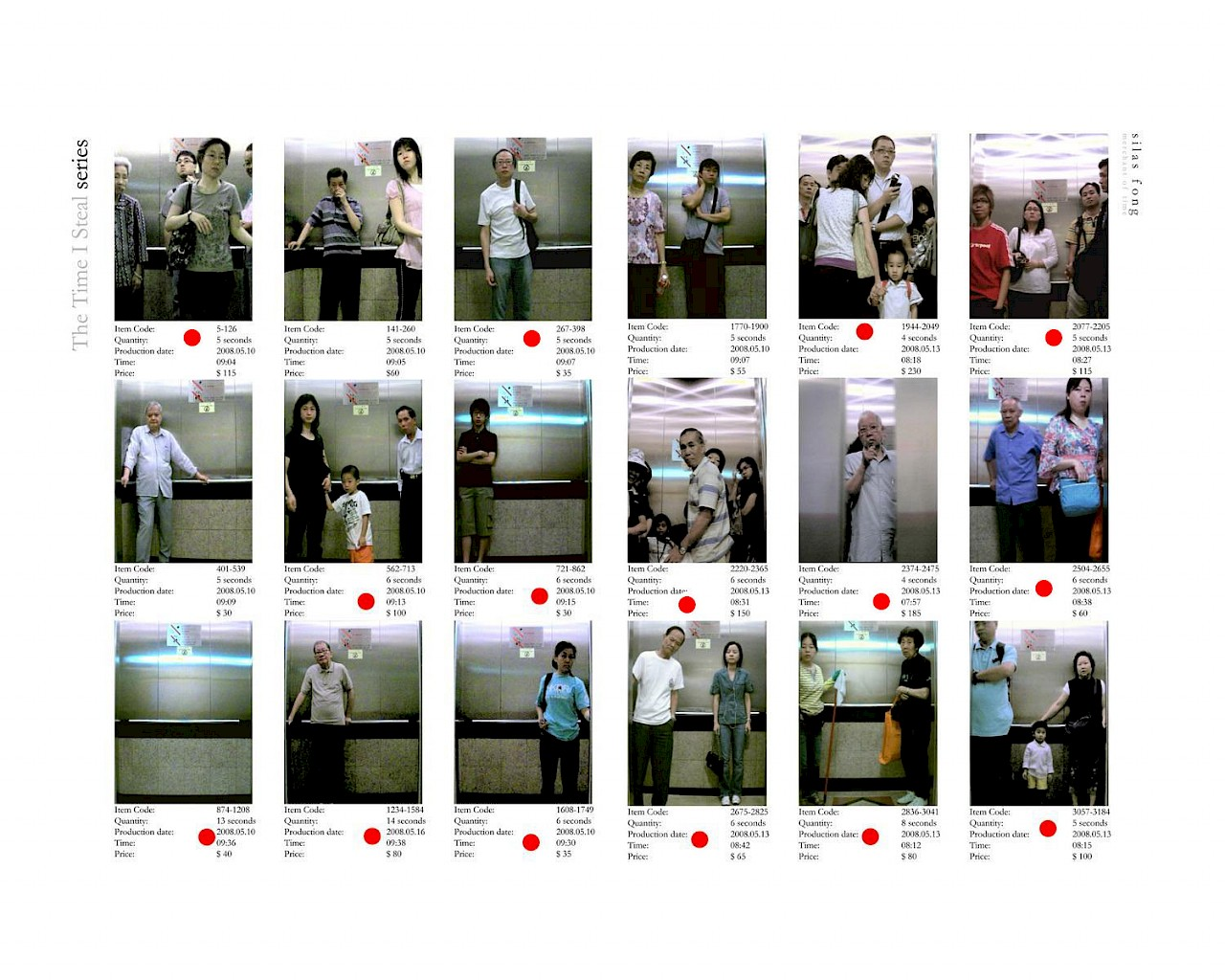<p>Multiple images showing different iterations of people standing in an elevator. Each image has an item code, quantity, production date, time, and price written underneath.</p>